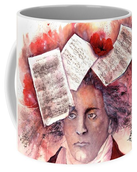 """Coffee mug called """"The celestial inspiration of a genius"""": Ludwig van Beethoven (1770-1827). His Piano Sonata No. 14 in C♯ minor """"Quasi una fantasia"""", Op. 27, No. 2 is popularly known as the Moonlight Sonata and it was completed in 1801 and dedicated to one of his pupils. Surprise your friends, family and office mates with this unique coffee mug, that comes in two sizes. Start your private collection!"""