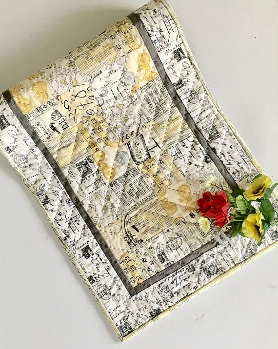 INDUSTRIAL TABLE RUNNER Text Newspaper Printing Words