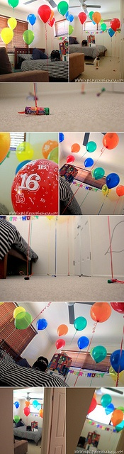 Surprise you kids with a room full of balloons on their birthday! http://www.ourlifedownunda.com/2012/10/birthday-balloon-surprise.html