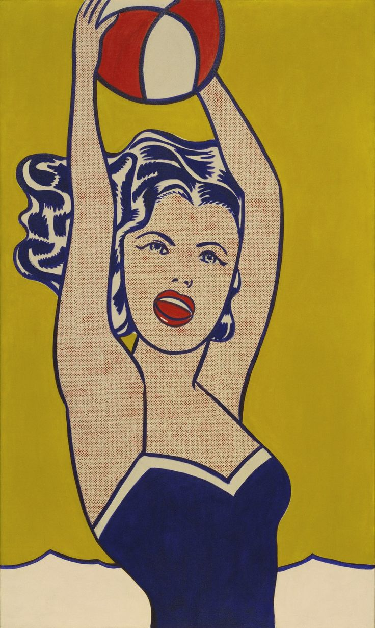 Lichtenstein took the image for Girl with Ball straight from an advertisement for a hotel in Pennsylvania's Pocono Mountains. In pirating it, however, he transformed the photographic image, using a painter's version of the techniques of the comic-strip artist. The resulting simplifications intensify the artifice of the picture, concentrating its careful evocation of fun in the sun. The girl's round mouth is more doll-like than female; any sex appeal she had has become as plastic as he...