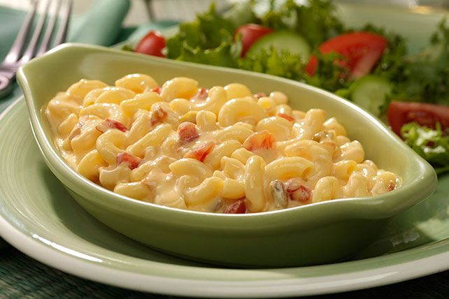 Diced tomatoes and green chilies make this mac and cheese as colorful as it is zesty.