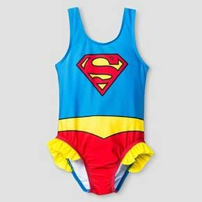 • Polyester/Spandex blend for durability and stretch<br>• Full coverage one-piece with ruffles at hip<br>• Hand wash cold and line dry to preserve quality<br><br>Get her ready for the water with the Toddler Girls' Supergirl® One Piece Swimsuit - Blue & Red. This girls' one-piece swimsuit has soft and durable fabric with stretch for a comfortable day at the beach. No need to worry – this one-piece wil...