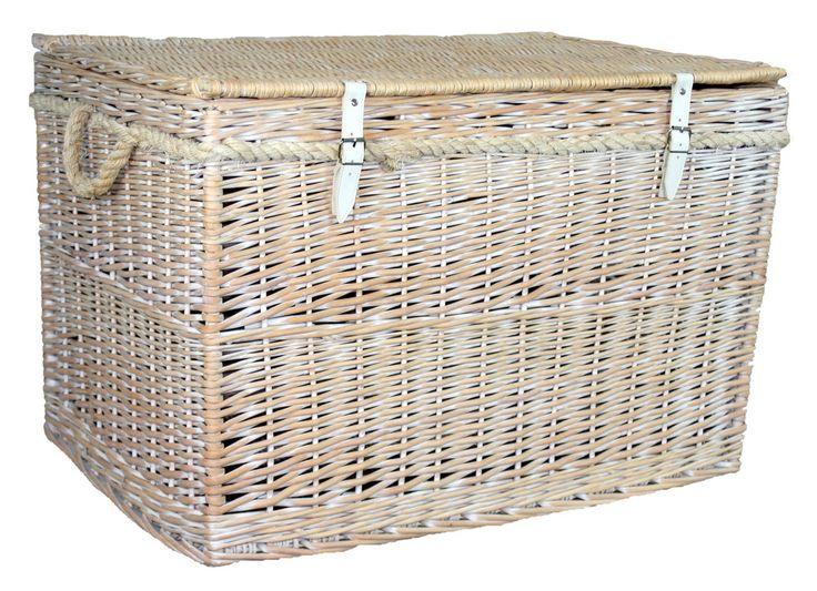 white wash finish storage wicker basket