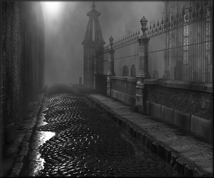 Fog, rain, mist, night, cobblestones--what more can I ask for!