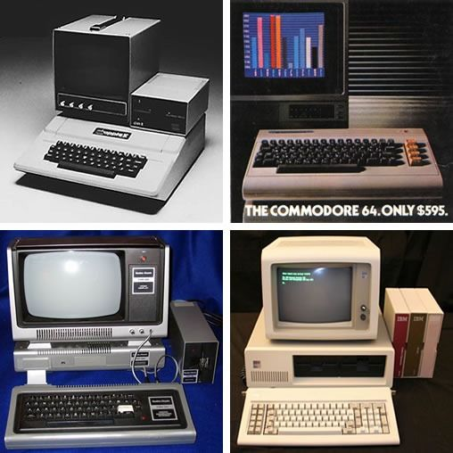 1980s-era computers: Apple //, Commodore 64, TRS-80 and IBM PC.