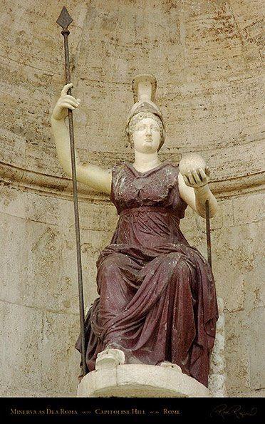 Minerva as Dea Roma, the Goddess of Rome. The globe symbolizes Rome as the center of the world. The body is porphyry, the head, arms and feet are marble. Palazzo Senatorio, Piazza del Campidoglio, Rome