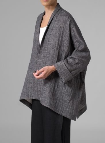 From Vivid Linen website. Flattering V-neckline Linen Cotton Drop-Shoulder Jacket - Dark Charcoal. .
