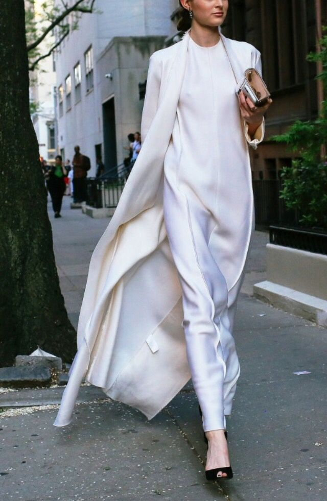 Monochrome, ethereal, chic, fashion, style, elegant, silk, total white, dress, duster coat