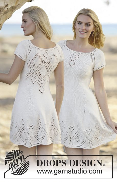 """Knitted DROPS dress with lace pattern and raglan in """"Muskat"""". Worked top down…"""