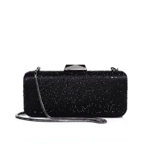 Saks Fifth Avenue Collection - Long Rectangular Jet Crystal Clutch