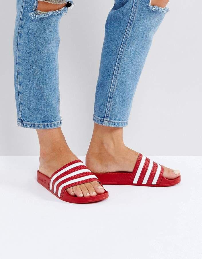 1d4a4396f220 adidas Originals Adilette Slider Sandals In Red