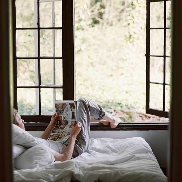 Rest and be present in the now. Nice idea - in the summer position your bed so your feet can go outside before you do.