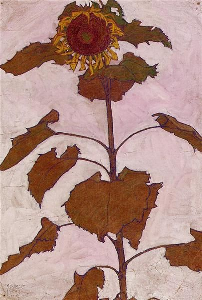Egon Schiele, Sunflower, 1909, watercolour on paper, Private Collection