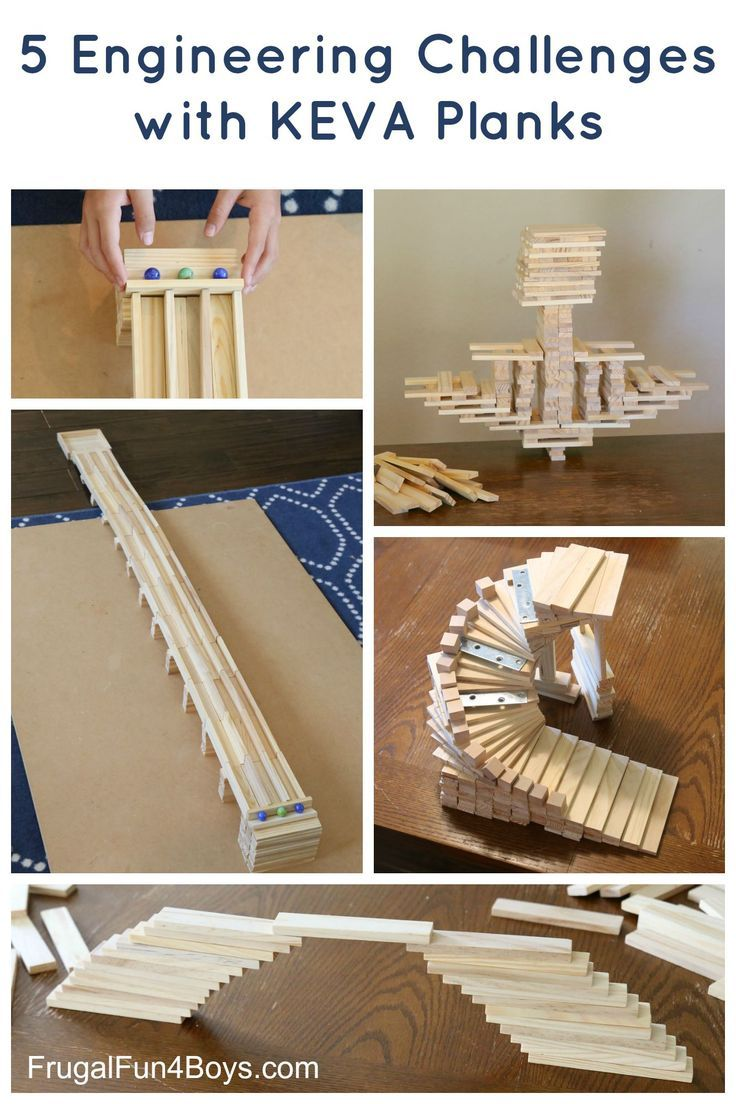 Five Engineering Challenges with KEVA Planks - Challenge kids to build a marble run, a bridge, and more.  Great STEM activity for a wide range of ages!