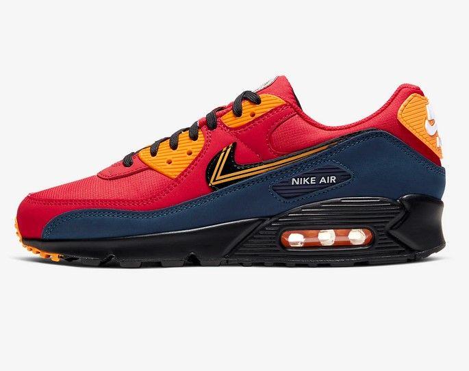 Nike Air Max 90 Premium Rouge université/Or université/Bleu nuit ...