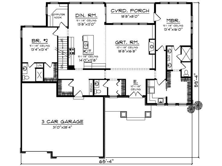 1st Floor Plan 020h 0465 Empty Nester House Plans House Plans Florida House Plans