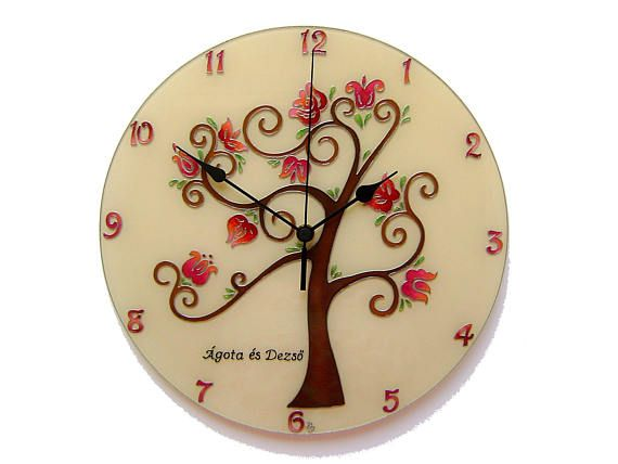 Folk Art Tree of Life Wall Clock Cream Wedding Gift Tree Wall