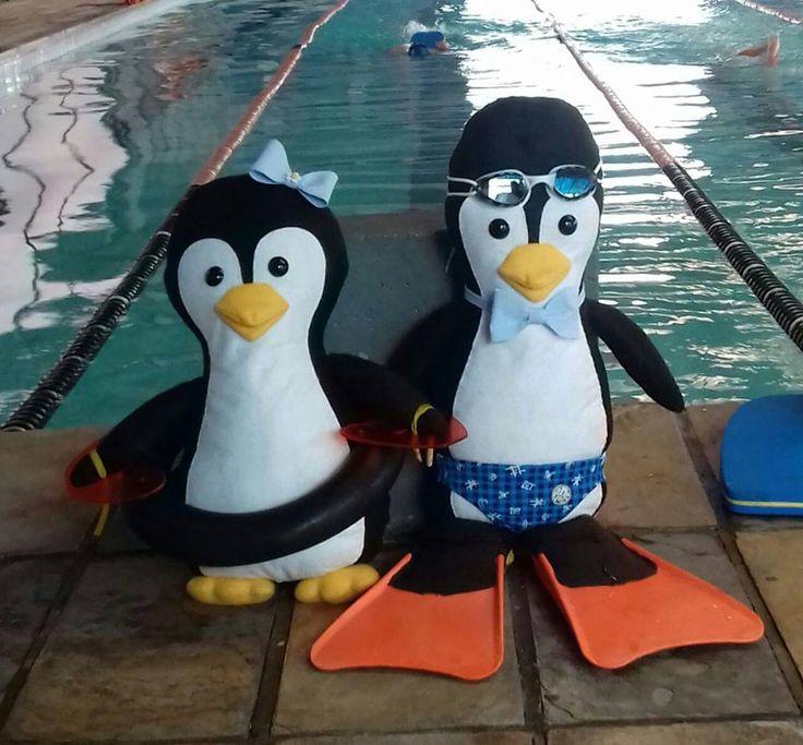 esses pinguins fiz para se tornarem mascotes de uma equipe de natação em Curitiba.