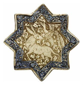 A KASHAN LUSTRE TILE, IRAN, 14TH CENTURY