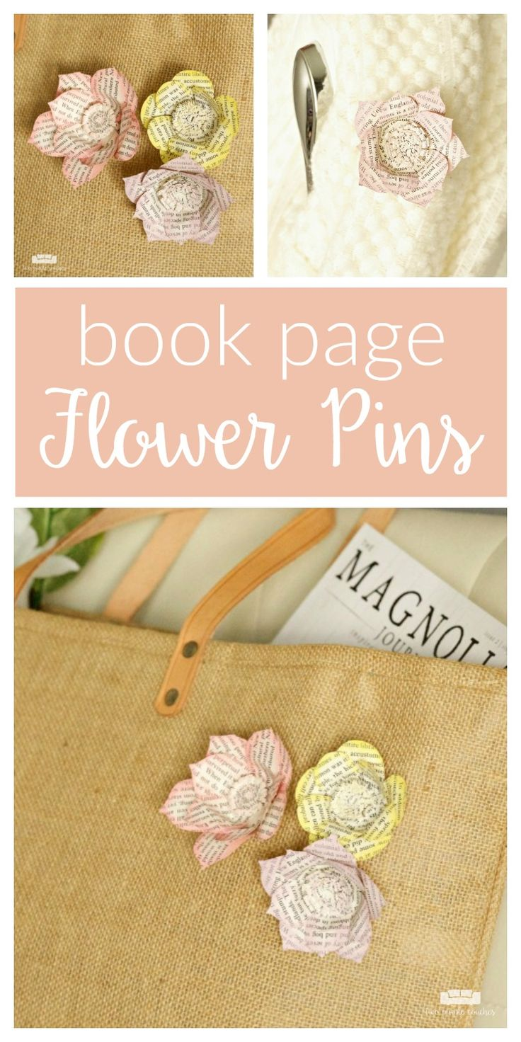 DIY Book Page Flower Pins