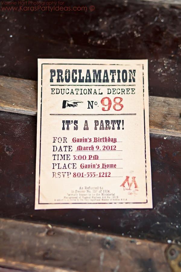 Harry Potter themed birthday party idea via Kara's Party Ideas   KarasPartyIdeas.com