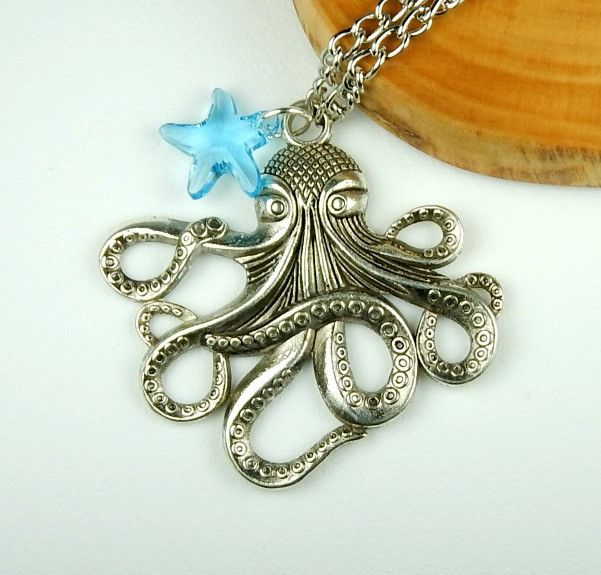 Long Silver Octopus Necklace With Crystal Starfish