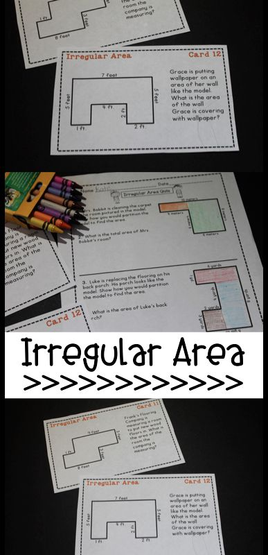 Irregular Area task cards and quiz! Great practice for decomposing figures and finding missing sides to find the area. Quiz is great for assessment.