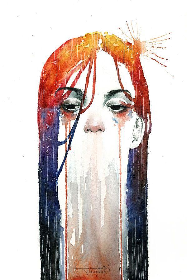 """her eye wanders"", watercolor illustration by kelogsloops on Deviantart.  #watercolor #illustration #face #hair #colorful #art"
