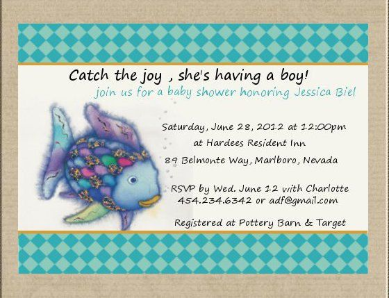 Rainbow fish/fish baby shower invitation by SweetTweetCreations, $15.99