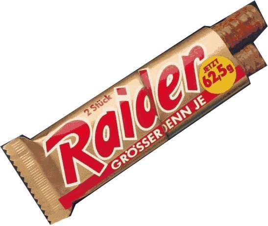 Vroeger Raider, voortaan Twix. 1991~. Anno 2014 noem ik het nog steeds vaak perongeluk Raider. Dat krijg je er gewoon niet meer uit! (Ik vind Raider ook eigenlijk beter passen hoor bij de reep.)