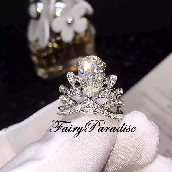 Art Deco 3 Ct Pear Cut Princess Crown Ring/ Engagement Ring / Promise Ring, Man Made Diamond, Tiara Ring, Right Hand Ring ( FairyParadise )