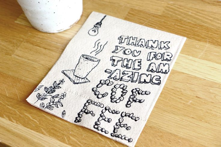 Coffee shop napkin doodle at Gallery Drip Coffee, Bangkok.