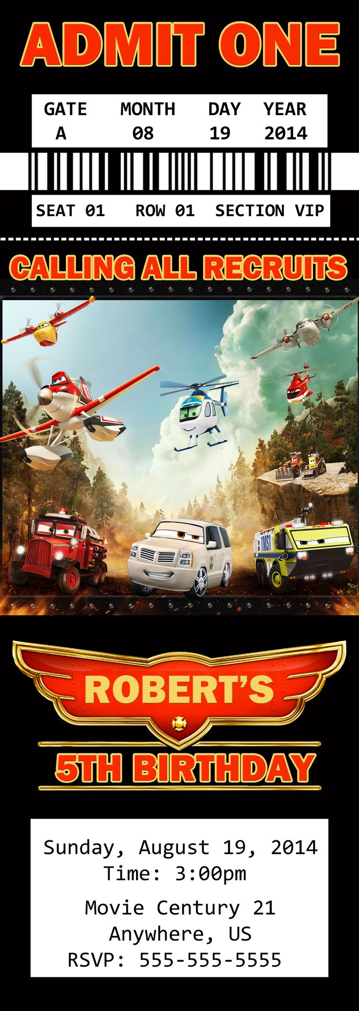 75 best Disney Planes Fire and Rescue Birthday Invitations and party ...