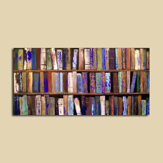 Abstract Painting Library Books 24 x 48 by ContemporaryEarthArt, $450.00