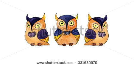 Three owls - a hand-painted watercolor illustration of cartoon owls, separated, isolated on white