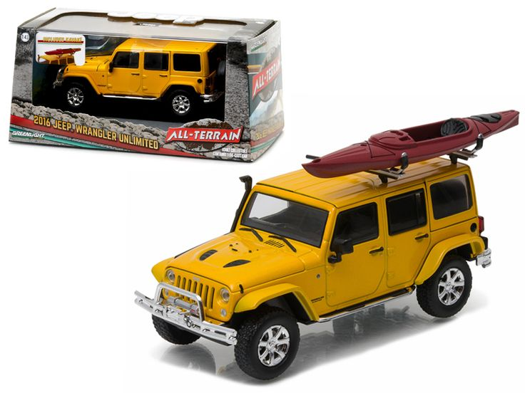 2016 Jeep Wrangler Unlimited Metallic Yellow with Winch, Snorkel, and Kayak With Display Showcase 1/43 Diecast Model Car by Greenlight - Brand new 1:43 scale diecast car model of 2016 Jeep Wrangler Unlimited Metallic Yellow with Winch, Snorkel, and Kayak With Display Showcase die cast car model by Greenlight. Rubber tires. Brand new box. Roof rack with kayak. Kayak is independent and can be removed. Limited Edition. Detailed interior, exterior. Comes in plastic display showcase. Dimensions…