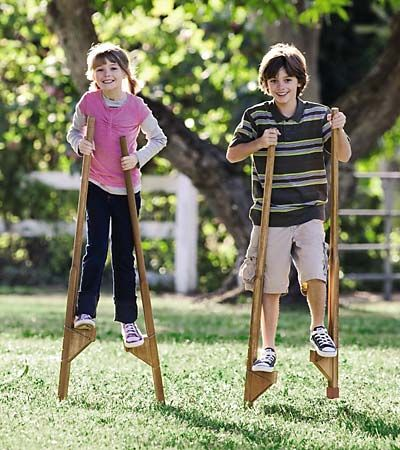 DIY stilts - to build one day. My dad made them for us and I rocked them even at the 3 foot mark.