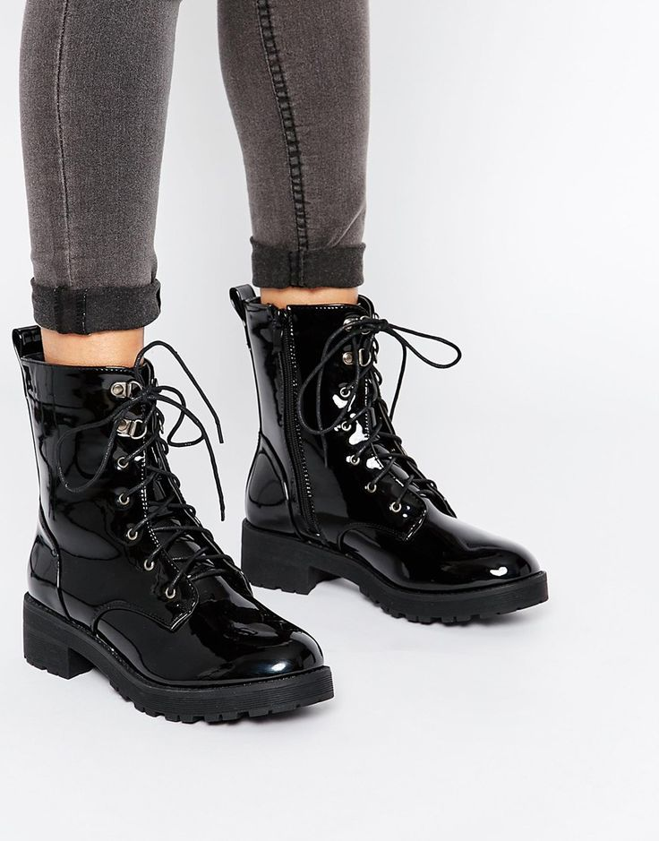 Image 1 of London Rebel Chunky Lace Up Calf Boots