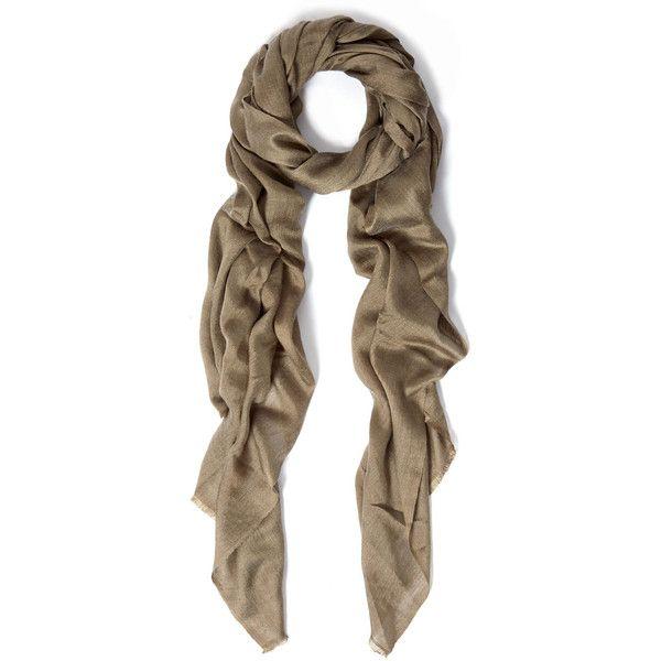 Me and Kashmiere Khaki Lino Gauze Cashmere Silk Blend Scarf (14.145 RUB) ❤ liked on Polyvore featuring accessories, scarves, cashmere scarves, gauze scarves, me & kashmiere and cashmere shawl