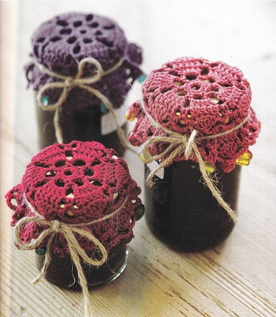 Jar Covers - Remove jar lid and use these lovely crocheted jar covers. Perfect for room deodorizer. Fill jar half-way with fresh baking soda, then add a couple drops of your favorite essential oil. When scent fades just shake to refresh. Scent lasts a long time. No chemicals or masking odors.