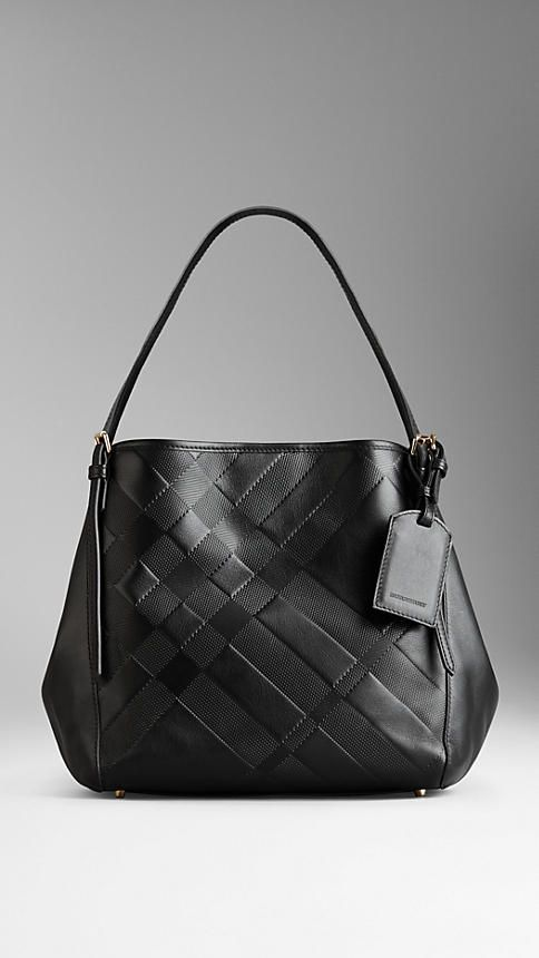 Small Embossed Check Leather Tote Bag   Burberry   Burberry   Bags, Leather,  Burberry f0f74d866d
