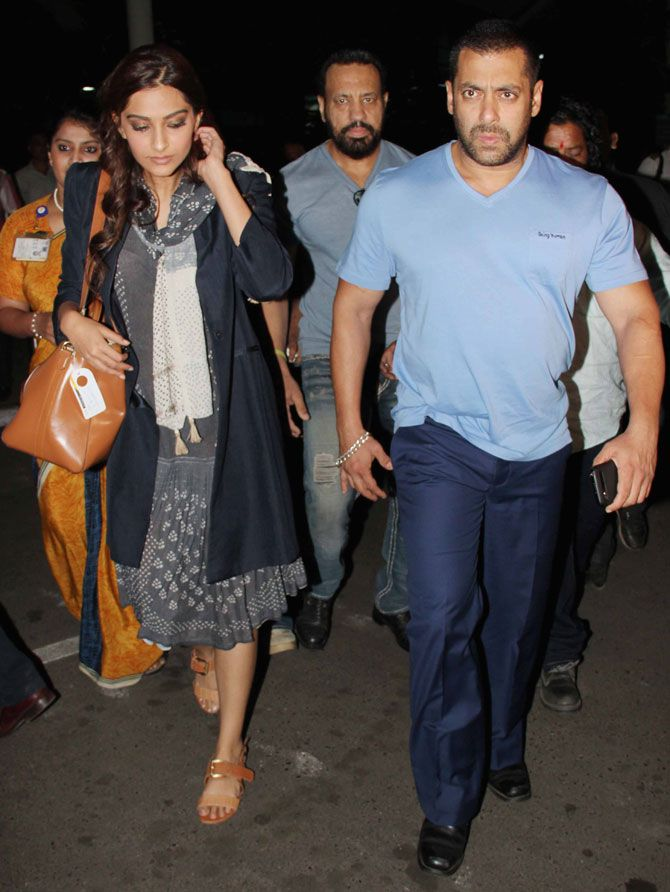 Salman Khan and Sonam Kapoor at Mumbai airport. #Bollywood #Fashion #Style #Beauty #Handsome