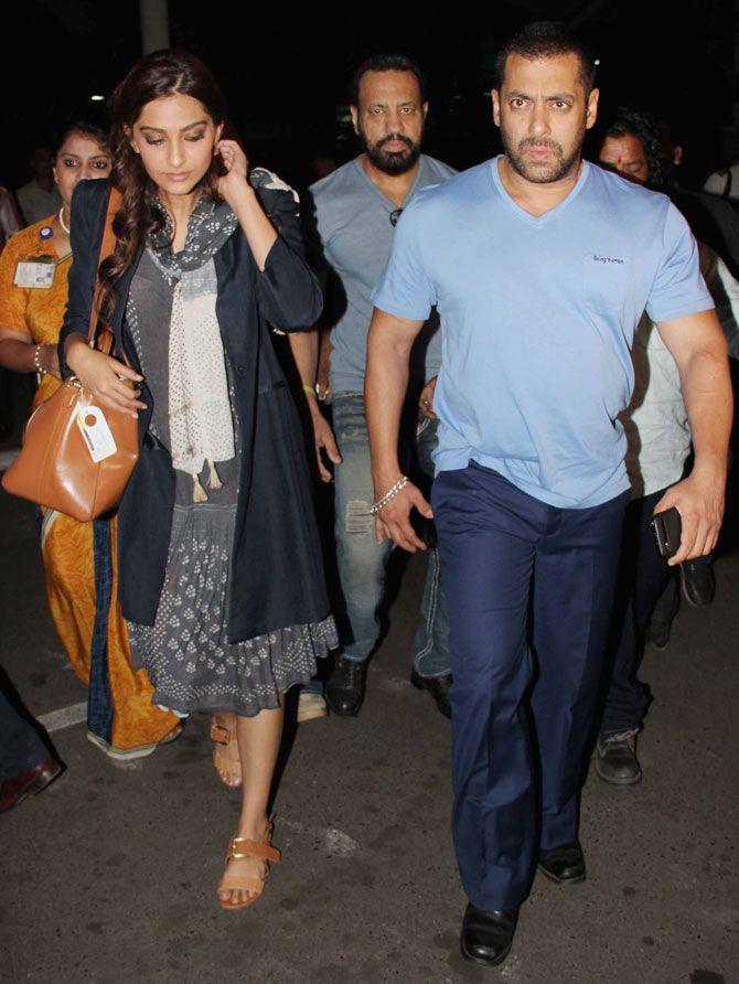 Salman Khan and Sonam Kapoor at Mumbai airport. #Bollywood #Fashion #Style #Beauty #Handsome