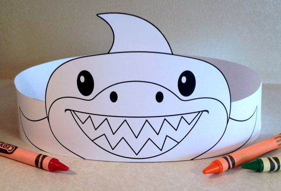 Shark Paper Crown COLOR YOUR OWN Printable by PutACrownOnIt