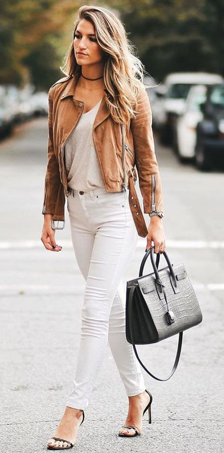 #winter #fashion /  Camel Leather Jacket + White Skinny Jeans