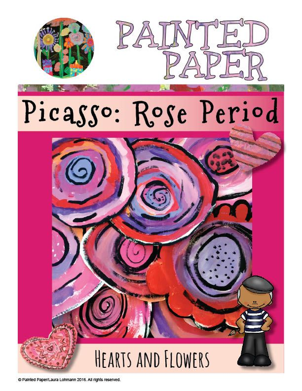 PAINTED PAPER: Picasso: Rose Period Hearts and Flowers