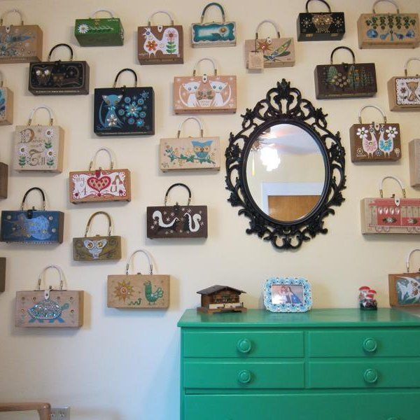 I love this person's choice to have a wall dedicated to Enid Collins purses. Those 1960's purses are unique and fun to collect.