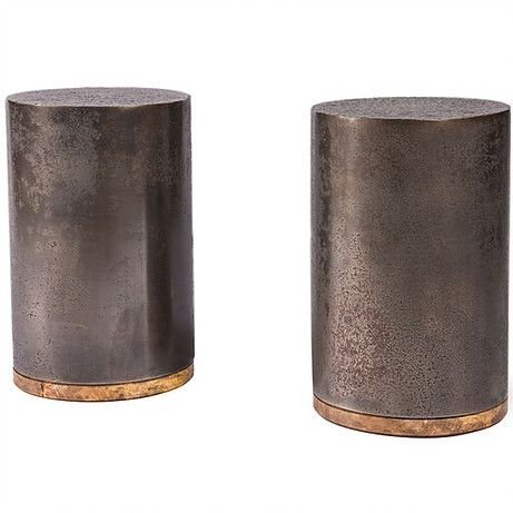Twin set drum side tables