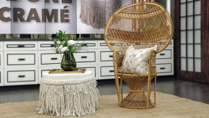 Macrame is back! Here's how to DIY the retro craft that has the design world in knots | DIY macrame decor, DIY macrame pillow, DIY macrame ottoman, home decor, ottoman DIY, macrame, retro DIYs, DIY decor, beachy home decor