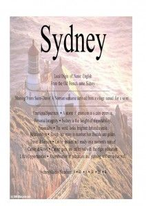 Sydney Name Means From St Denis Name Tells Everything Pinterest